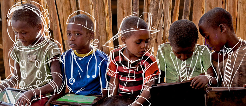 Children in Africa learning from tablet PCs